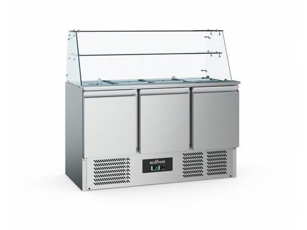 Ecofrost Saladette 3 Türen   Glas Rebellion   1365x700x850 (h) mm