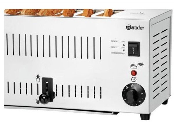 Bartscher Edelstahl-Toaster | 6 Slots | 2,5 kW | 405x265x220 (h) mm
