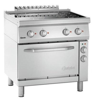 Bartscher Keramisch Fornuis met Elektrische Oven | 4 Kookplaten Ø210mm |  400V | Gastronorm 1/1 | 800x700x850(h)mm