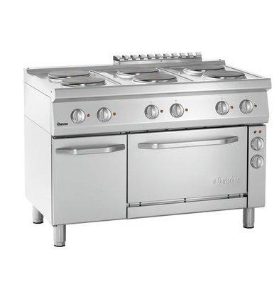 Bartscher Elektrisch Fornuis met Oven | 6 Kookplaten Ø220mm |  400V | Gastronorm 1/1 | 1200x700x850(h)mm
