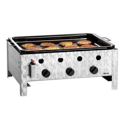 Bartscher Gas-table roasting grill 10kW | Enamelled baking tray 3 Burners 700x560x310 (h) mm