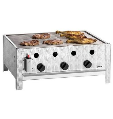 Bartscher Gas-table roasting grill 10kW | Enamelled baking tray 3 Burners 700x560x310 (h) mm - Copy