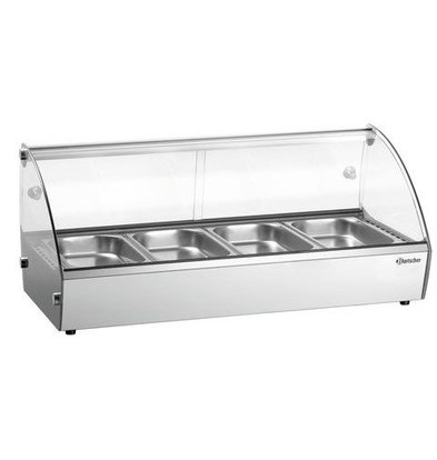 Bartscher Heated Mounted Display Case Glass 4x GN1 / 3 Bins Incl. | 500W | 420x775x335 (h) mm