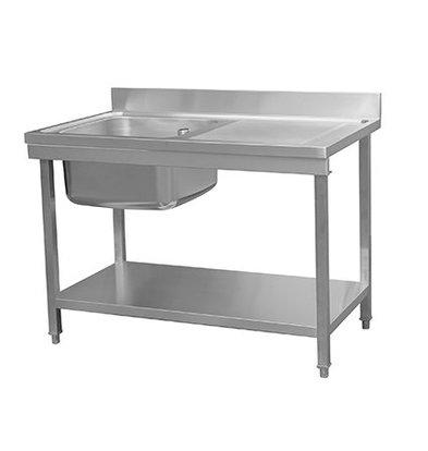 Combisteel Abnehmbare Wasch- oder Spülbecken RVS / INOX   + Bottom Shelf   Sink Left (500x500x (H) 300 mm)   1200x700x (H) 850mm