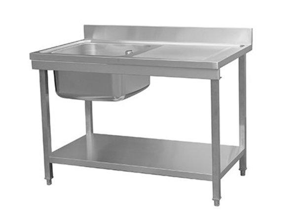 Combisteel Abnehmbare Wasch- oder Spülbecken RVS / INOX | + Bottom Shelf | Sink Left (500x500x (H) 300 mm) | 1200x700x (H) 850mm