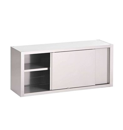XXLselect Edelstahl-Wandschrank mit Schiebetüren - In Breiten 7-40 (d) x60 (h) cm