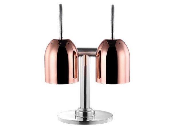 Emga Dubbele Warmhoudlamp Koper | Tafelmodel | met Schakelaar |2x Ø240x600(h)mm