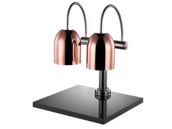 Emga Dubbele Warmhoudlamp Koper   Tafelmodel met Plateau 50x45cm   met Schakelaar   650(h)mm