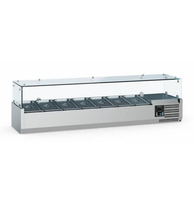 Ecofrost Set-up refrigerated display case - 7x 1/4 GN - 150x33.5x (H) 43.5 cm