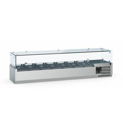 Ecofrost Set-up refrigerated display case - 8x 1/4 GN - 180x33.5x (H) 43.5 cm