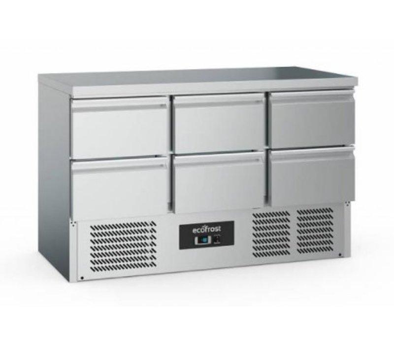 Ecofrost Werkbank kühlen - 6 door - 368 Liter - 137x70x (h) 85cm