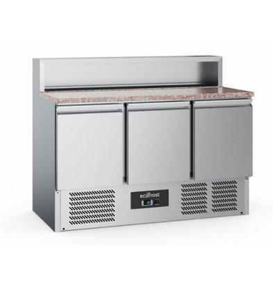 Ecofrost Pizzawerkbank - RVS - 3 deurs - 137x70x(h)108cm - Met 7x 1/6 GN