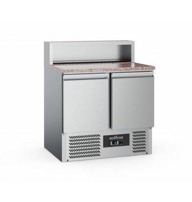 Ecofrost Pizzawerkbank - RVS - 2 deurs - 90x70x(h)108cm - Met 5x 1/6 GN