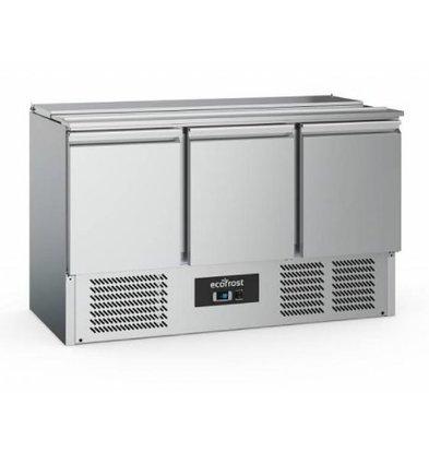 Ecofrost Saladette - 3 deurs - 368 liter - 137x70x(h)88cm