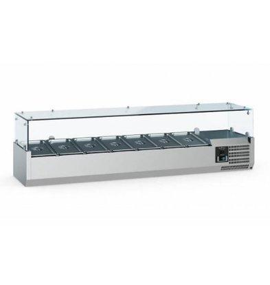 Ecofrost Set up refrigerator display case - 8x 1/3 GN - 180x39.5x (H) 43.5 cm