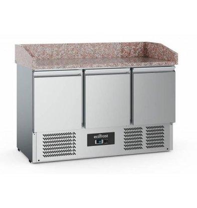 Ecofrost Pizzawerkbank - RVS - 3 deurs - 140x70x(h)102cm