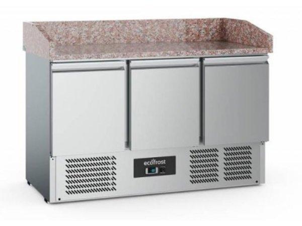 Ecofrost Pizza Werkbank - Edelstahl - 3 door - 140x70x (h) bis 102 cm