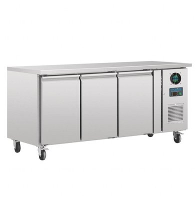 Polar Freeze-Workbench INOX - 3 Türen - mit Lenkrollen - 417 Liter -180x70x (h) 85cm