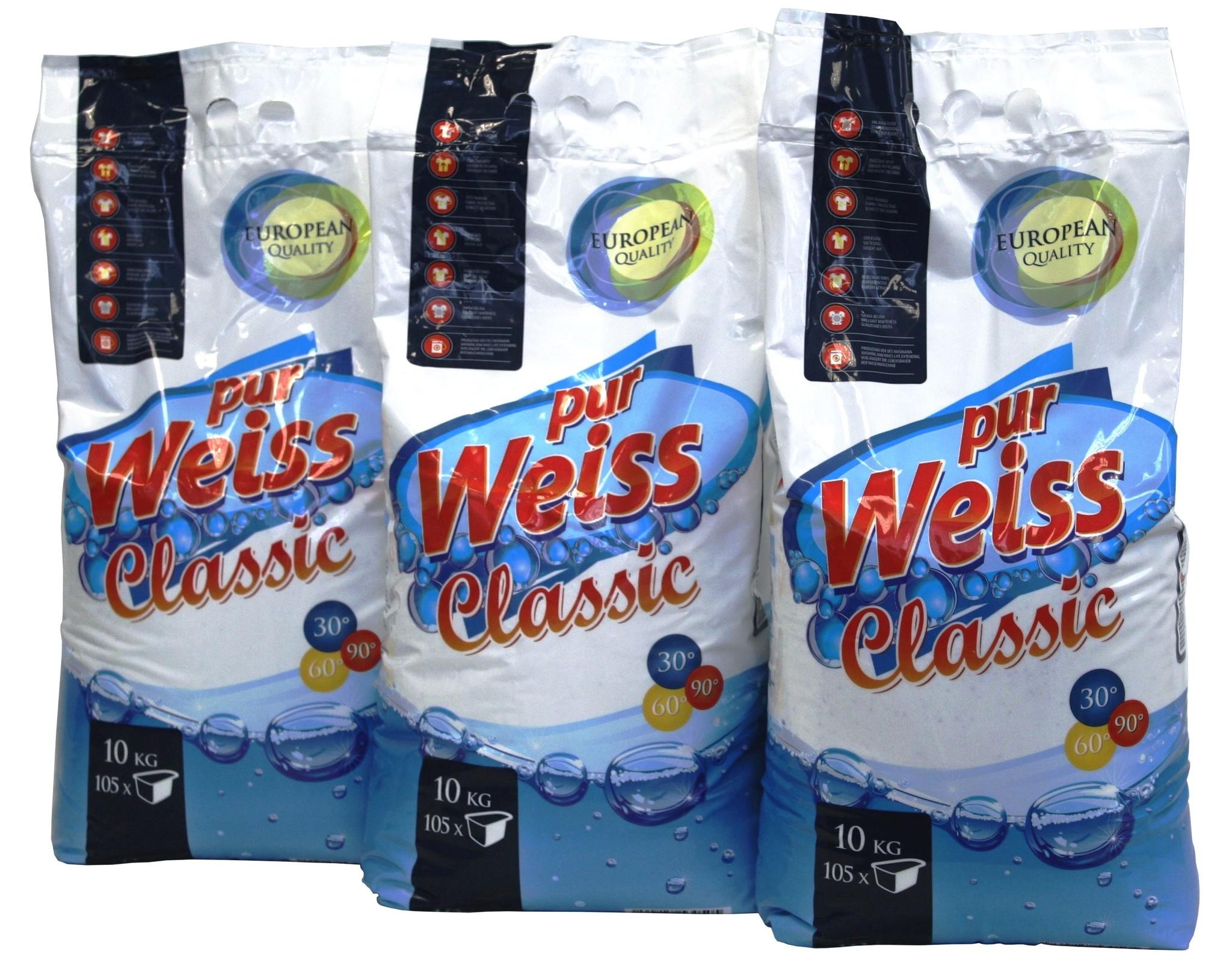 3x10Kg purWeiss CLASSIC Waschpulver