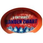 """WM Oval Sign: """"Banden Zwart"""""""
