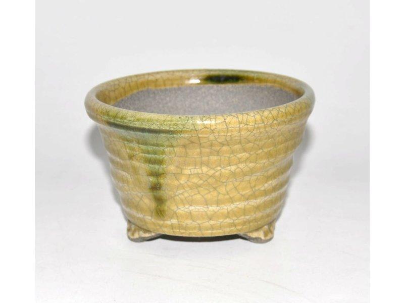Bonsai pot yellow 12,5 cm