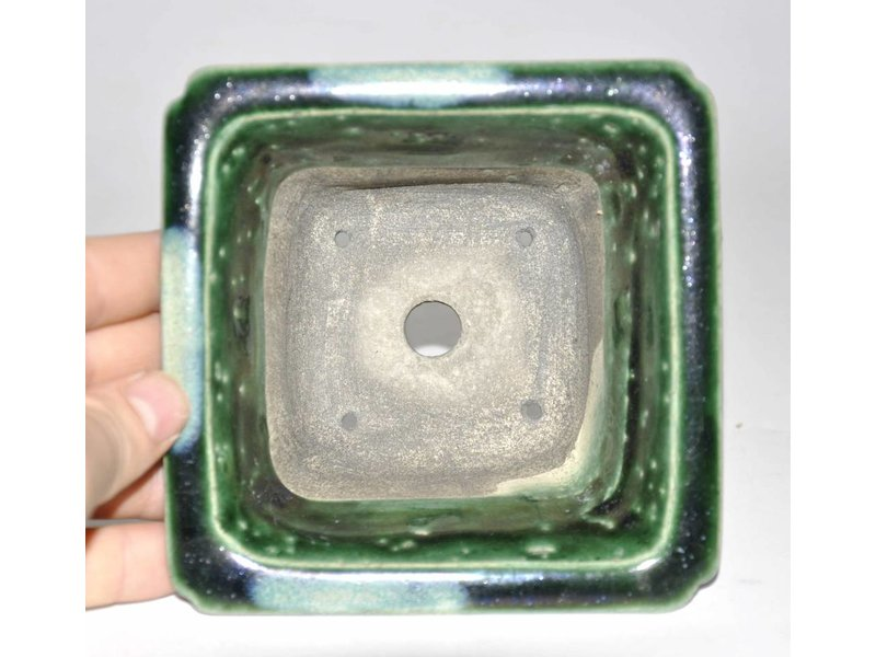 Green Rectangular pot 12,6 cm