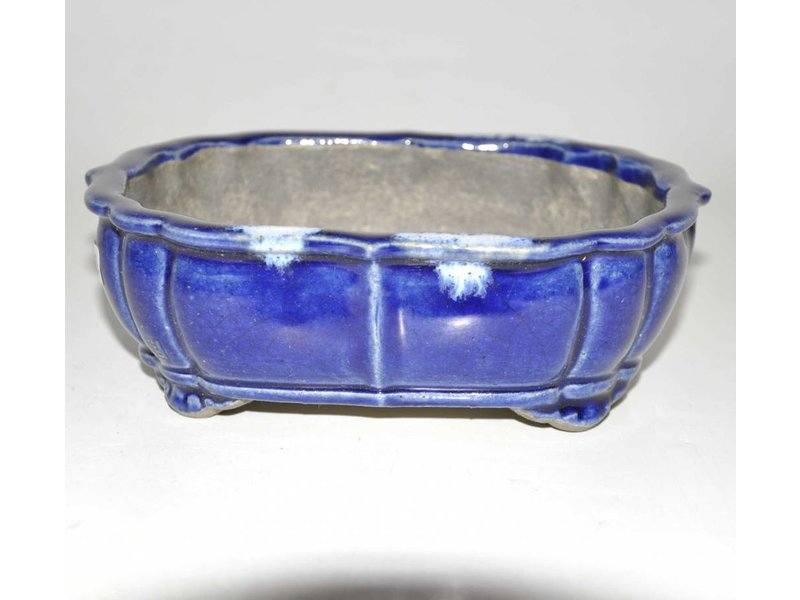 Blue, Oval lotus shape bonsai pot