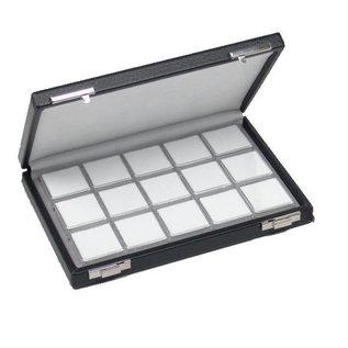 Etui mit 15 Kunststoffdosen für Edelsteine, halbe Größe