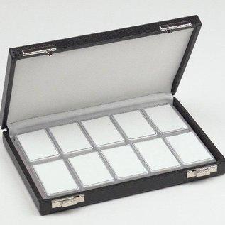 Etui mit 10 Kunststoffdosen für Edelsteine, halbe Größe
