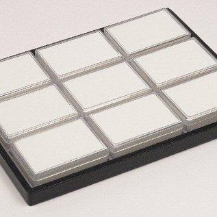 Schiebelade mit 9 Kunststoffdosen für Edelsteine