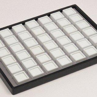 Schiebelade mit 42 Glasdeckeldosen für Edelsteine