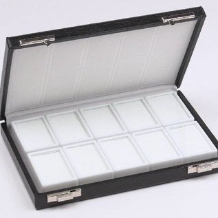 case content 10 glass lid boxes, half size