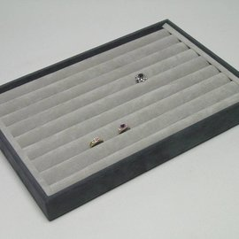 Stacking tray with 8 rows for rings