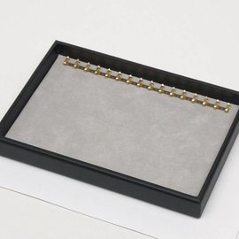 Stacking tray with hooks on long side