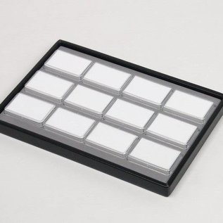 Sliding tray with 12 plastic boxes