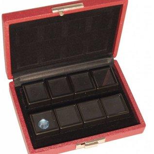 case content 8 glass lid boxes, quarter size
