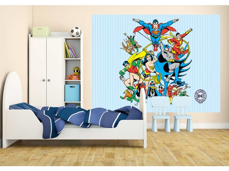 dc comics collage fotobehang 232 x 158 cm multi. Black Bedroom Furniture Sets. Home Design Ideas