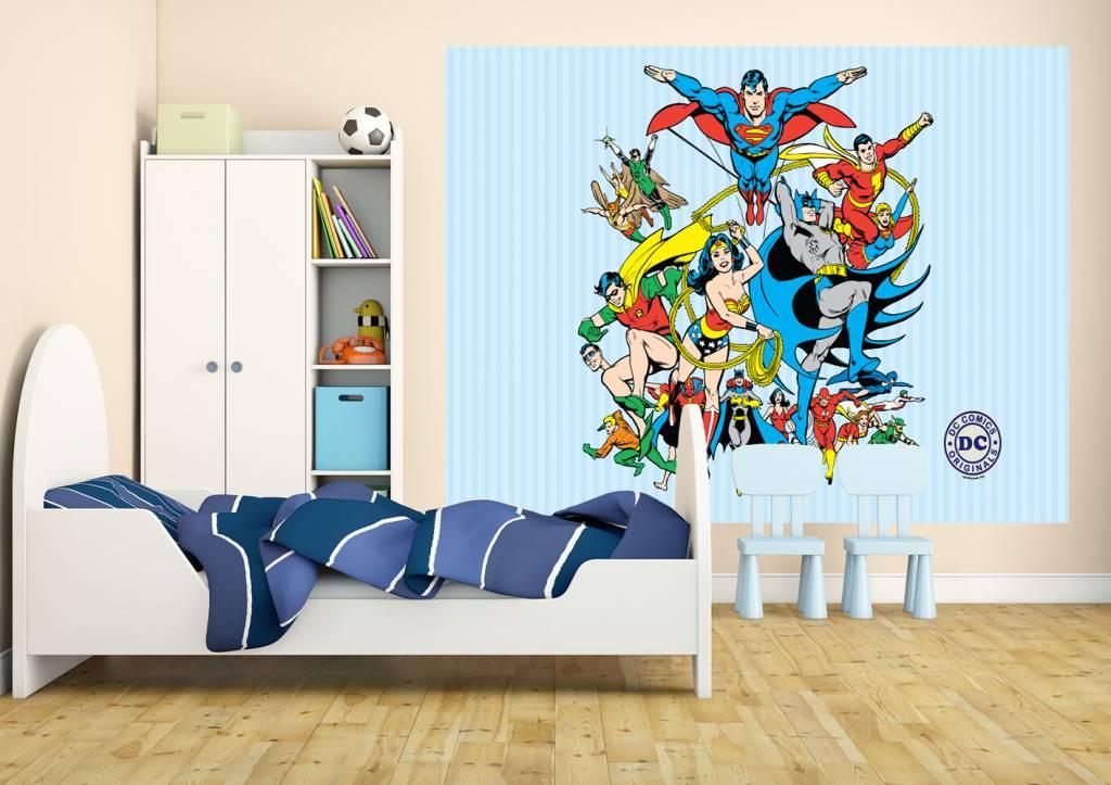 dc comics collage fotobehang 232 x 158 cm multi. Black Bedroom Furniture Sets. Home Design Ideas