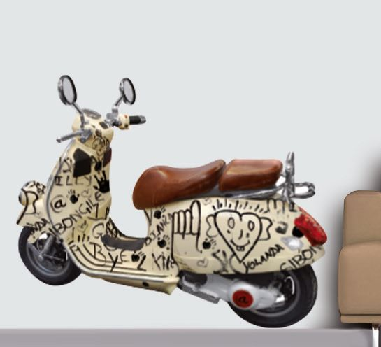 muursticker italiaanse scooter 70 x 50 cm multi. Black Bedroom Furniture Sets. Home Design Ideas