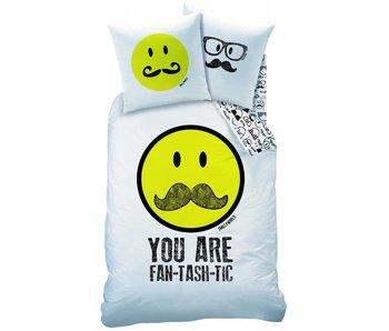 Smiley Dekbedovertrek Moustache 60% katoen 40% polyester 140x200 + 63x63cm