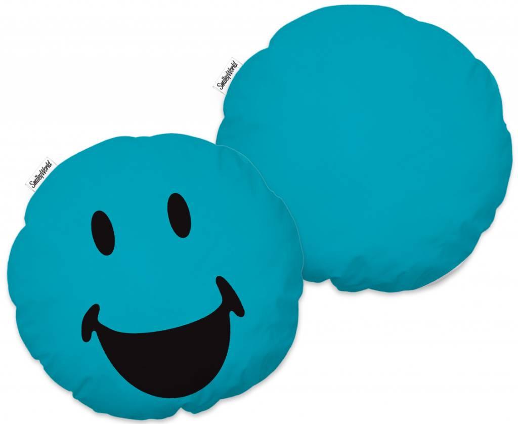 Smiley 3D Lagune - Kussen - ø36 cm - Zeegroen - SimbaShop.nl