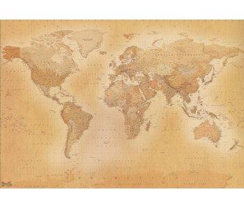 Fotobehang Wereldkaart oud 366x253cm EXTRA GROOT