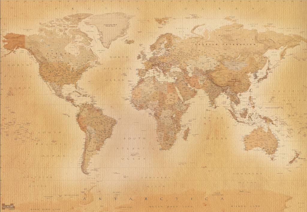 Fotobehang wereldkaart oud 366 x 253 cm multi for Carta da parati cartina geografica