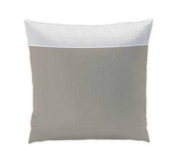 Matt & Rose Cushion Chaleureux goûter taupe / white pleated 65x65cm