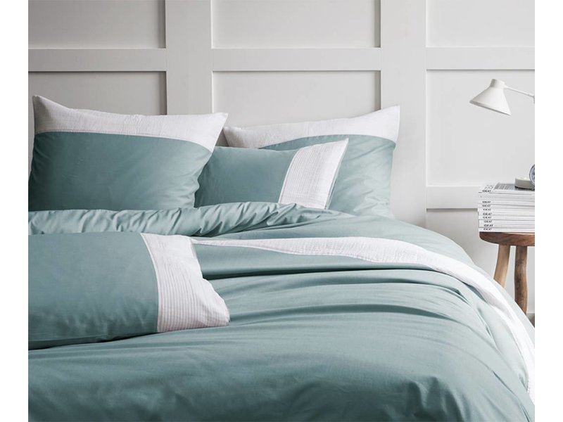 Plissé tendance blue white dekbedovertrek lits jumeaux x