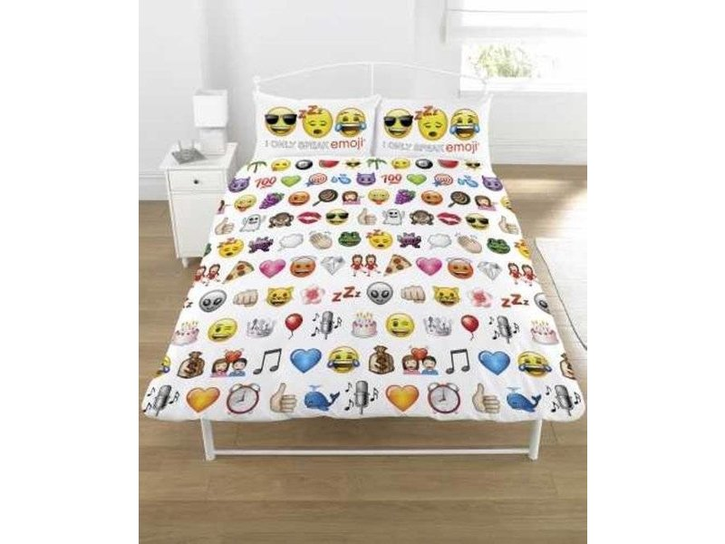emoji dekbedovertrek tweepersoons 200 x 200 cm wit. Black Bedroom Furniture Sets. Home Design Ideas