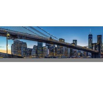 Fotobehang Blaue Stunde in New York City 366 x 127 cm