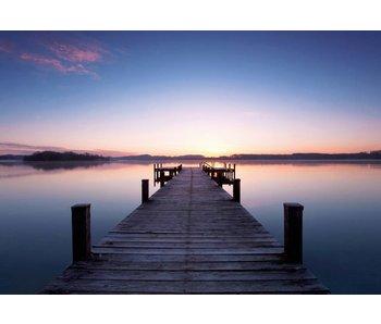 Fotobehang Pier at Sunrise 366x254 cm