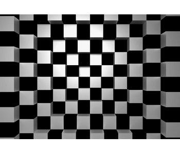 Fotobehang Black + White Squares 366x254 cm