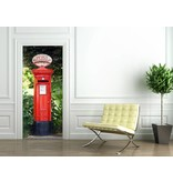 Fotobehang Postbox - Deurposter - 86 x 200 cm - Rood